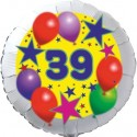 Luftballon aus Folie, 39. Geburtstag, Luftballons und Sterne Zahl 39, ohne Helium