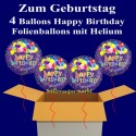 Happy Birthday Geburtstagsballons, 4 Luftballons aus Folie, Balloon Bunch, mit Helium