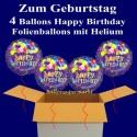 Happy Birthday Geburtstagsballons, 4 Luftballons aus Folie, Balloon Bunch, mit Helium