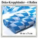Kreppbänder, Bayrisches Muster, 10 Meter x 5 cm, schwer entflammbar