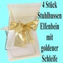 4 Stuhlhussen, Elfenbein, mit goldener Schleife
