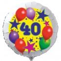 Luftballon aus Folie mit Helium, 40. Geburtstag, Sterne und Luftballons