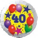 Luftballon aus Folie, 40. Geburtstag, Luftballons und Sterne Zahl 40, ohne Helium