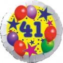 Luftballon aus Folie, 41. Geburtstag, Luftballons und Sterne Zahl 41, ohne Helium