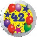 Luftballon aus Folie, 42. Geburtstag, Luftballons und Sterne Zahl 42, ohne Helium