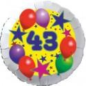 Luftballon aus Folie, 43. Geburtstag, Luftballons und Sterne Zahl 43, ohne Helium