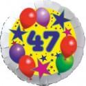 Luftballon aus Folie, 47. Geburtstag, Luftballons und Sterne Zahl 47, ohne Helium