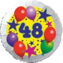 Luftballon aus Folie, 48. Geburtstag, Luftballons und Sterne Zahl 48, ohne Helium