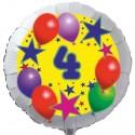 Luftballon aus Folie mit Helium, 4. Geburtstag, Sterne und Luftballons