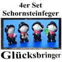 Silvester Dekoration, Glücksbringer-Schornsteinfeger, 4er Set