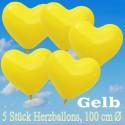 Herzluftballons 100 cm, Gelb, 5 Stück