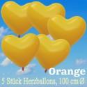 Herzluftballons 100 cm, Orange, 5 Stück
