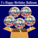 5 Geburtstags-Luftballons Happy Birthday Balloons, Holografisch, inklusive Helium