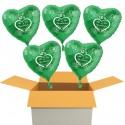 """5 Stück grüne Herzluftballons, """"Alles Gute zur Petersilienhochzeit"""" , inklusive Helium"""