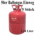 5 Helium-Einweg-Behälter, 50er Ballongas-Heliumgas-Einwegflaschen