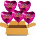 Girls Night Out, 5 Herzluftballons in Pink mit Ballongas-Helium, Junggesellinnenabschied