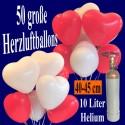 Midi-Set Ballons Helium, 50 Herzluftballons 40 cm mit Ballongasflasche, Weiß und Rot