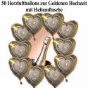 50 Ballons aus Folie, Goldene Hochzeit, mit dem Helium-Mehrweg-Behälter
