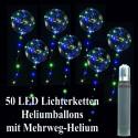 50 Heliumballons mit bunten LED Lichterketten