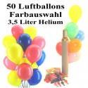 Midi-Set 2A, 50 bunte Luftballons mit Helium (Farbauswahl)