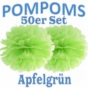 Pompoms, Apfelgrün, 35 cm, 50er Set