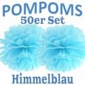 Pompoms, Himmelblau, 35 cm, 50er Set