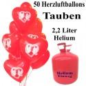 Helium- Einwegbehälter mit 50 Herzluftballons, Tauben, Hochzeitstauben, Friedenstauben