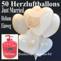 Helium- Einwegbehälter mit 50 Herzballons Hochzeit WEISS Just married