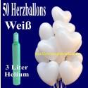 Midi-Set 2/1B, 50 weiße Herzluftballons mit Helium / inkl. Rückporto