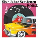 50er Jahre Party Servietten, Partydekoration Mottoparty Fifties, 16 Stück