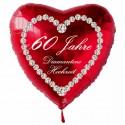 """Roter Herzluftballon, """"60 Jahre Diamantene Hochzeit"""" , inklusive Helium"""