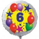 Luftballon aus Folie mit Helium, 6. Geburtstag, Sterne und Luftballons