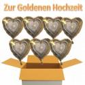 Goldene Hochzeit, 7 Hochzeits-Luftballons mit Helium im Karton