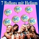 Geburtstag 60 Glückwünsche Überraschung, 7 Geburtstagsballons mit Helium