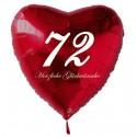 72. Geburtstag, roter Herzluftballon aus Folie, 61 cm groß, mit Helium