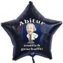Abitur endlich geschafft! Luftballon, Sternballon aus Folie, schwarz