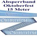 Oktoberfest Absperrband, 15 Meter, Blau-Weiß, Bayrische Rauten, PVC, 1 Rolle