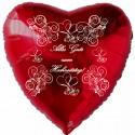 Roter Herzluftballon, Alles Gute zum Hochzeitstag, inklusive Helium