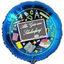 Alles Gute zum Schulanfang! Blauer Luftballon mit Schultafel, inklusive Helium-Ballongas