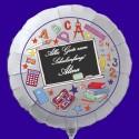Alles Gute zum Schulanfang! Weißer Luftballon zum Schulanfang, mit dem Namen des Schulanfängers, inkl. Helium-Ballongas