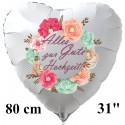 Alles Gute zur Hochzeit! Großer Herzluftballon 80 cm, weiß, Folienballon, inklusive Helium-Ballongas