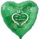 """Grüner Herzluftballon, """"Alles Gute zur Petersilienhochzeit"""", ohne Helium"""