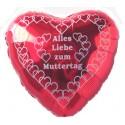 ALLES LIEBE ZUM MUTTERTAG, roter Herzluftballon aus Folie mit Ballongas-Helium