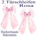 Autodekoration Hochzeit, 2 Türschleifen für das Hochzeitsauto, Rosa