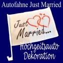 Hochzeit, Autofahne Just Married Dekoration für den Hochzeitswagen