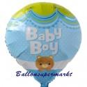 Baby Boy Heissluftballon aus Folie zu Geburt, Taufe, Babyparty, Boy-Junge, ohne Ballongas Helium