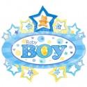 Baby Boy, großer, ovaler Luftballon mit Herzen aus Folie, es ist ein Junge, Ballon mit Helium zu Geburt und Taufe
