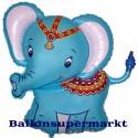 Luftballon Baby-Elefant, blau, Folienballon mit Ballongas