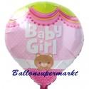Baby Girl Heissluftballon aus Folie zu Geburt, Taufe, Babyparty, Girl-Mädchen, ohne Ballongas Helium