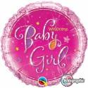 Luftballon zu Geburt, Taufe, Babyparty, Welcome Baby Girl, Ballon mit Ballongas Helium
